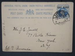 GRANDE BRETAGNE- INDE- Entier Postal De Cawnpore Pour New York En 1899    A Voir Lot P4939 - 1882-1901 Empire