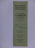 MARQUE PAGES - FRANCE - CINEMA - ETABLISSEMENTS L.J. JACQUEMETTON - MATERIEL CINEMATOGRAPHIQUE PROFESSIONNEL - ANNEE 50 - Segnalibri