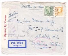 Schweden Zensur Luftpost  O.A.T. Brief Von 12.2.1942 Stockholm Nach Melbourne Australien Mit Kopie Vom Inhalt - Poste Aérienne
