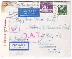 Schweden Zensur Luftpost  O.A.T. Brief Von 3.1.1945 Stockholm Via England Nach Melbourne Australien Mit Kopie Vom Inhalt - Poste Aérienne