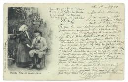 CPA Précurseur - PETITE FILLE ET GRAND PERE, TEXTE DE BROTEL - Circulé 1900 - Musique Et Musiciens