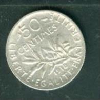 France 50 Fcentimes Semeuse Argent Silver  Année 1918   -  Tb/sup  - Pieb6604 - G. 50 Centimes