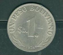 BOLIVIA 1 BOLIVIANO 1974. - Pia9205 - Bolivia