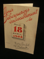Guerre 39-45 WW2 Tract Vichy NOUS DEBARQUERONS....ON LEUR DIT M...! Churchill Roosevelt Cambronne - 1939-45
