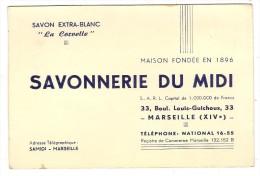 Carte Publicitaire Savonerie Du Midi 33 Boulevard  Louis Guichoux Marseille - Advertising