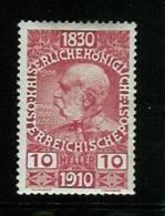 �sterreich 1910: 80. Geburtstag,  Mi.-Nr. 166  **