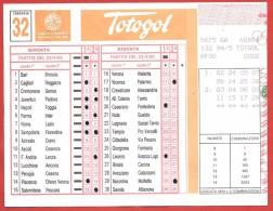 SCHEDINA TOTOGOL GIOCATA - Concorso 32 Del 23 - 04 - 1995 - 2 Combinazioni - Vecchi Documenti