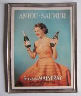 ANJOU SAUMUR, Sylvain MAINFRAY. Publicité Années 50, Debar Reims , Belle Affiche Encadrée , 3 Scans - Alcools