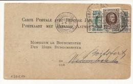 Carte Affr. N°193+194 De BRUXELLES/1926 Pour Wesembeek , Réexpédiée Et Réaffranchie N°196 Pour Boitsfort - 1922-1927 Houyoux