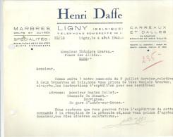 LIGNY   HENRI  DAFFE  Marbres Bruts Et Ouvres  Specialites  Garnitures De Cheminées ..... 4.08.1942 - Belgium