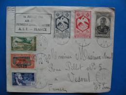 Enveloppe 14 Juillet 1946-AIR FRANCE 1ére Liaison Rapide AEF-FRANCE 6 Timbres Différents - A.E.F. (1936-1958)