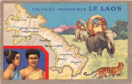 ¤¤  -  Colonies Françaises  -  Le LAOS  -  Eléphants , Tigre  -  Carte Publicitaire Des Produits Du Lion Noir  -  ¤¤ - Laos