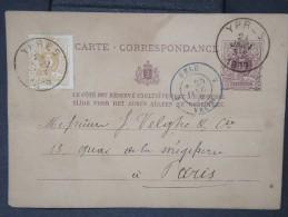 FRANCE- Oblitération Cad  Belgique Par Valenciennes En Bleu Sur Entier Belge(plié) Pour Paris En 1879 Lot P4992 - Poststempel (Briefe)