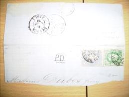 BR 174 BELGIE 1873 STUK BRIEF MET NR 30+31 VAN BRUXELLES NAAR BORDEAUX  ZIE FOTO´s - 1869-1883 Leopold II