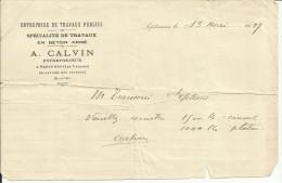 Lettre De A. CALVIN Travaux Publics à SEPTEMES LES VALLONS Du 13/5/1919. - Vieux Papiers