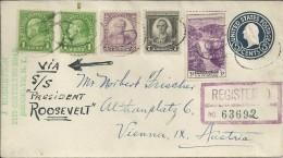 ESTADOS UNIDOS CC CERTIFICADA A AUSTRIA VIA SS PRESIDENT ROOSEVELT AL DORSO MAT BROOKLYN Y NEW YORK 1936 - Covers & Documents