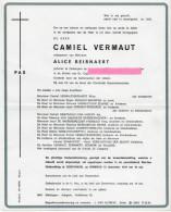 Vermaut Camiel Beirnaert Debaene Willems Zomergem Overlijdensbrief Rouwbrief - Religione & Esoterismo