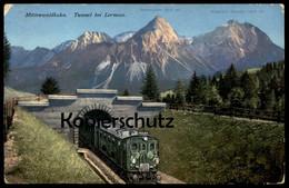 ALTE POSTKARTE MITTENWALDBAHN TUNNEL BEI LERMOOS SONNENSPITZE SCHROFEN Eisenbahn Chemin De Fer Railway Mittenwald-Bahn