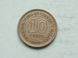 1950 MALAYA - 10 CENTS / KM 8 ( Uncleaned Coin / For Grade, Please See Photo ) !! - Kolonies