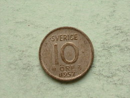 1957 - 10 Ore / KM 823 ( Uncleaned Coin / For Grade, Please See Photo ) !! - Suède