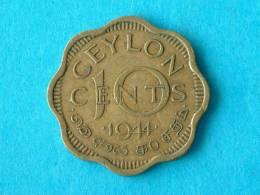 1944 - TEN CENTS / KM 118 ( For Grade, Please See Photo ) ! - Sri Lanka