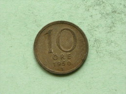 1950 TS - 10 ORE / KM 813 ( Uncleaned Coin / For Grade, Please See Photo ) !! - Suède