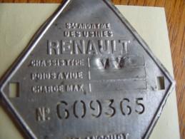 Plaque Chassis Tracteur Renault Type VY - Tracteurs