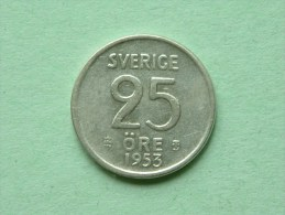 1953 TS - 25 ORE / KM 824 ( Uncleaned Coin / For Grade, Please See Photo ) !! - Suède
