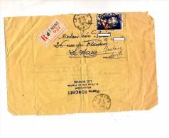 Fragment Lettre Assignation Recommandee Le Mans Sur Bijou - Postmark Collection (Covers)