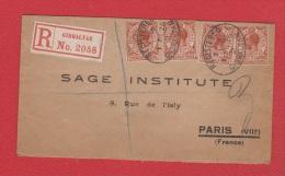 Enveloppe //  Recommandé  //  De Gibraltar  //    Pour Paris    // 1 Février 1926 - Gibraltar
