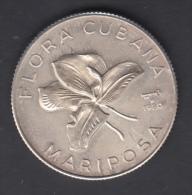 1980-MN-3  CUBA. 1980. 5$. FLOR MARIPOSA. BUTTERFLIES FLOWERS. AG. FINE SILVER. - Cuba