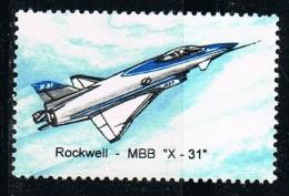 Viñeta Avion ROCKWELL  MBB, X 31, EStados Unidos USA ** - Variedades, Errores & Curiosidades