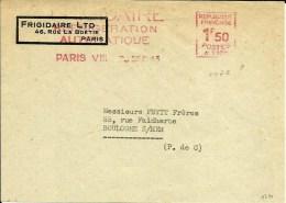 Lettre Flamme EMA Havas A  1172 1943 1f50   Frigidaire Paris  A54/35 - Marcophilie (Lettres)