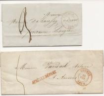 2 L. Càd CHIMAY/1846 Et 1844 Dont 1 Avec APRES LE DEPART - 1830-1849 (Belgique Indépendante)