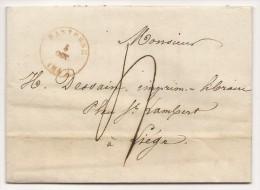 """L. Càd BASTOGNE/1842 + """"4"""" Pour Liège"""