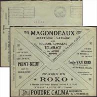 Belgique 1926. Enveloppe En Franchise Des Chèques Postaux. Pubs : Acétylène, Oxygène, Auto, Moto, Courroies, Estomac. RR - Motorbikes