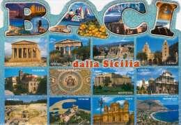 BACA Dalla Sicilia, Glitzer-Mehrbilder-Karte, Gel., Großformat - Unclassified