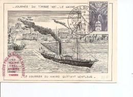 Journ�e du timbre -1951 ( Carte comm�morative de France avec vignette priv�e � voir)
