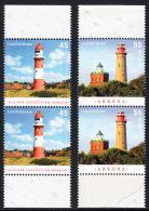 !a! GERMANY 2012 Mi. 2942-2943 MNH SET Of 2 Vert.PAIRS W/ Bottom & Top  Margins -Lighthouses: Borkum/Kap Arkona - [7] Repubblica Federale