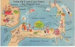 Cape Cod Massachusetts, Map Of Cape Cod Railroad Lines Comic People Antique Store Fishing C1930s Vintage Linen Postcard - Cape Cod