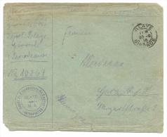 Enveloppe Prisonnier Allemand - Dépôt De Prisonniers De Guerre Blaye - 123-9-16 Versa / Cachet Censeur - Interprètes - WW I