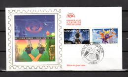 """Enveloppe 1er Jour En Soie De 2005  N° YT 3845 + 3850 """" SPYRO / LARA CROFT """". Parfait état. FDC - FDC"""