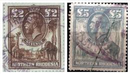 NORTHERN RHODESIA 1925 LARGE PICTORIAL REVENUES £2, £5  BAREFOOT N.1,2 - Rhodesia Del Nord (...-1963)