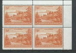 Norfolk Island 1947 - 1956 1/2d Orange Ball Bay Definitive White Paper Marginal Block Of 4MNH - Norfolk Eiland