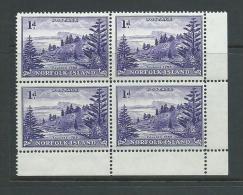 Norfolk Island 1947 - 1956 1d Violet Ball Bay Definitive White Paper Marginal Block Of 4 MNH - Norfolk Eiland
