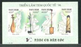 Vietnam Viet Nam MNH Imperf Sheetlet 1996 : National Musical Instruments / Music (Ms729) - Vietnam
