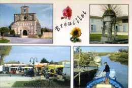 17  BREUILLET Eglise Romane XII°s Fontaine De Chalezac Place Avec Le Marché - Autres Communes