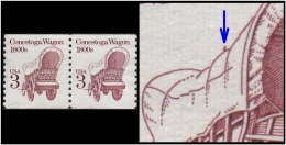 USA (Conestoga Wagon, 1800s) 3c.Printing Error: A Brown Colored Mark Found Beside Wagon- See Left One (Unused) Pair - Errors, Freaks & Oddities (EFOs)