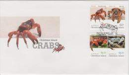 Christmas Island FDC Mi 703-706 - Crabs - Gecarcoidea Natalis - Birgus Latro - Karstarma Jacksoni - Discoplax Hirtipes - Christmaseiland