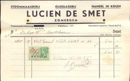 Faktuur Facture - Olieslagerij Lucien De Smet - Zomergem 1935 - Otros